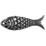 METALIZED BEAD w/SS.COATING 25x8mm Scaley Fish Antique Silver image