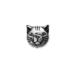 METALIZED BEAD w/SS.COATING 9mm Cat Head Antique Silver image