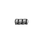 METALIZED BEAD w/SS.COATING 9x4mm Barber Pole Antique Silver image