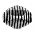 METALIZED BEAD w/SS.COATING 24x20mm Ribbed Hive Antique Silver image