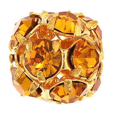Czech Rhinestone Beads 10mm Topaz/Gold image