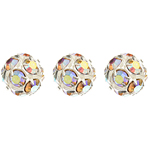 Czech Rhinestone Beads 10mm Crystal AB/Silver image