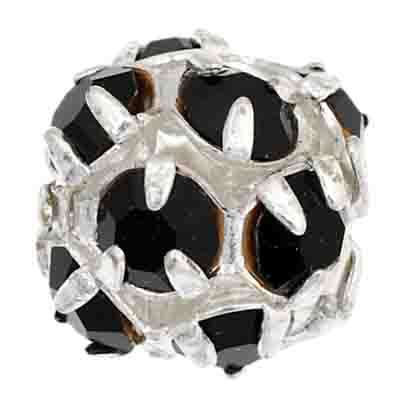 Czech Rhinestone Beads 8mm Black/Silver image