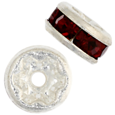 Czech R/S Rondelle 4.5mm Siam Ruby/Silver image