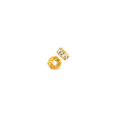 Czech R/S Rondelle 4.5mm Crystal/Gold image