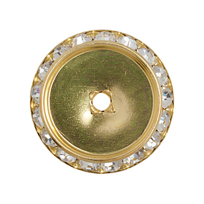 Czech R/S Spacer 25mm-18mm ID Round F/B Gold/Crystal image