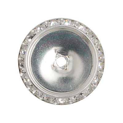 Czech R/S Spacer 25mm-18mm ID Round F/B Silver/Crystal image