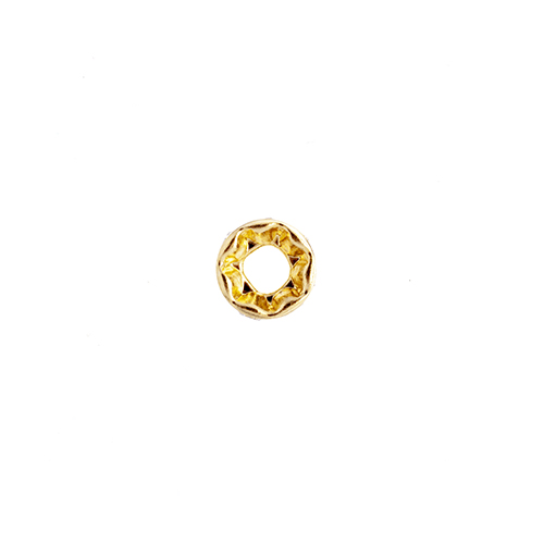 Preciosa Large Hole Rondelle 8mm 8mm Gold/Crystal 12pcs image