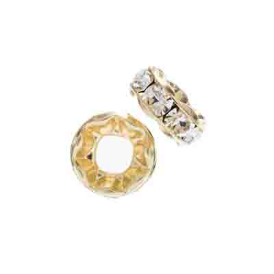 Preciosa Large Hole Rondelle 8mm 8mm Gold/Crystal 5pcs image
