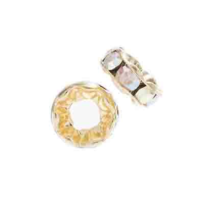 Preciosa Large Hole Rondelle 8mm 8mm Gold/Crystal AB 5pcs image