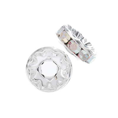 Preciosa Large Hole Rondelle 10mm Silver/Crystal AB 5pcs image