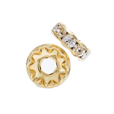Preciosa Large Hole Rondelle 10mm Gold/Crystal 5pcs image