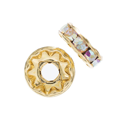 Preciosa Large Hole Rondelle 10mm Gold/Crystal AB 5pcs image