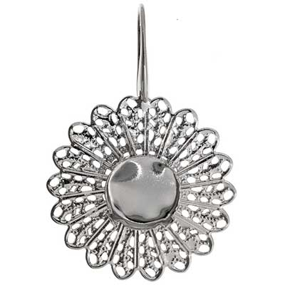 Filigree Earring Setting 33mm Sunflower Imitation Rhodium image
