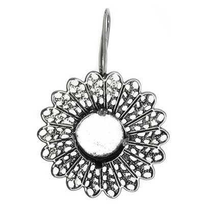 Filigree Earring Setting 33mm Sunflower Antique Silver image