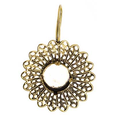 Filigree Earring Setting 33mm Sunflower Antique Brass image