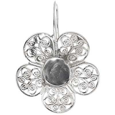 Filigree Earring Setting 36mm Flower Imitation Rhodium image