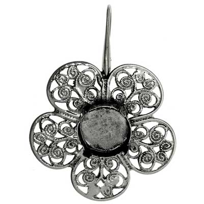 Filigree Earring Setting 36mm Flower Antique Silver image