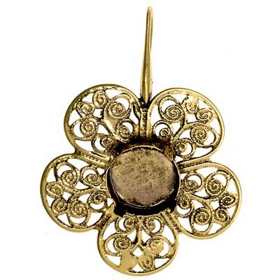 Filigree Earring Setting 36mm Flower Antique Brass image