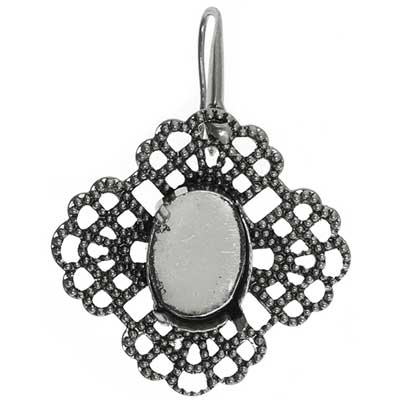 Filigree Earring Setting 35mm Clover Antique Silver image
