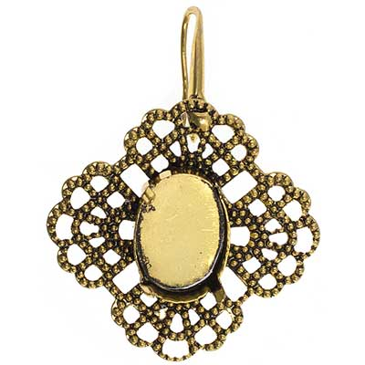 Filigree Earring Setting 35mm Clover Antique Brass image