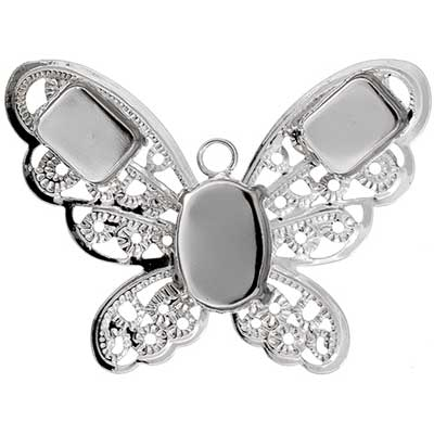 Filigree Pendant Setting32x42mm Butterfly Rhodium Imitation image