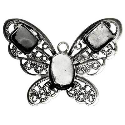 Filigree Pendant Setting32x42mm Butterfly Antique Silver image