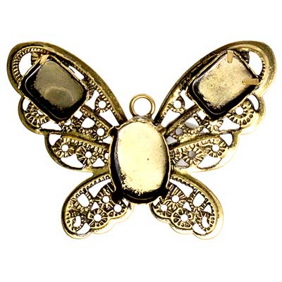 Filigree Pendant Setting32x42mm Butterfly Antique Brass image