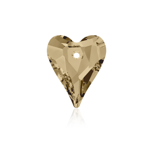 Swarovski Pendant 6240 Wild Heart 17mm Golden Shadow Crystal 6pcs image