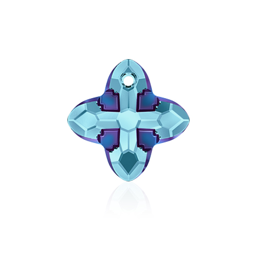 Swarovski Pendant 6868 Cross Tribe 24mm Aquamarine Metallic Blue 1pc image