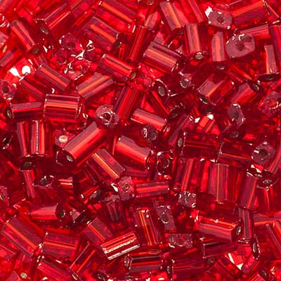 JB Square Vial Apx.24g Beadlette Ruby/Silver image