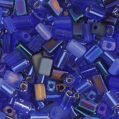 CZECH SEEDBEAD APPROX 22g VIAL 5x3.5mm TINY FLATS  MULTI BLUE/SAPPHIRE image