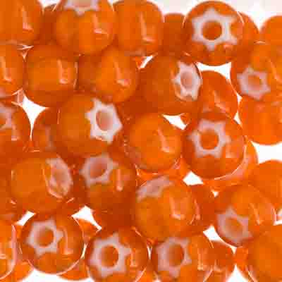 Czech Seed Beads 32/0 Cornelian White Star Orange image