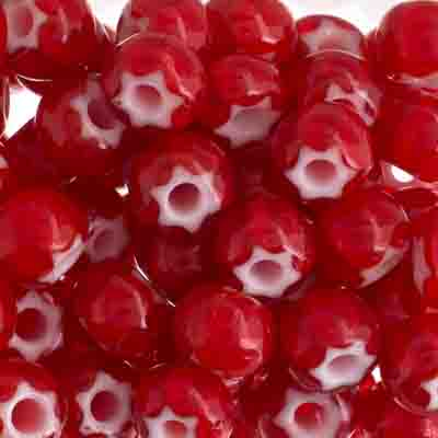 Czech Seed Beads 32/0 Cornelian White Star Red image