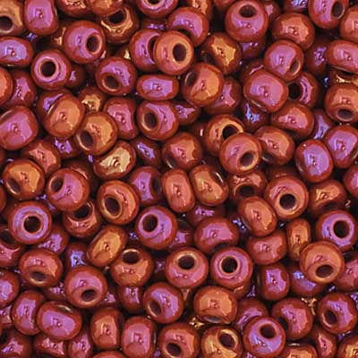 Czech Seed Bead 11/0 Opaque Ruby AB apx23g image