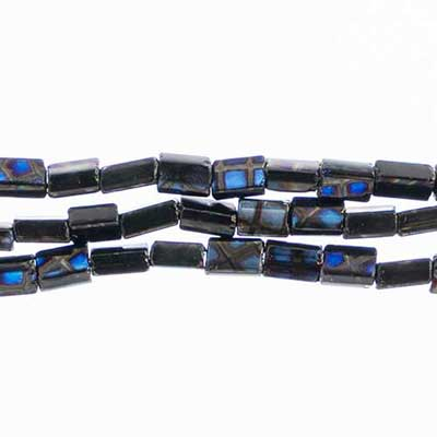 Glass Peacock Tiny Flat Beads 5x3.5mm Black Azuro image