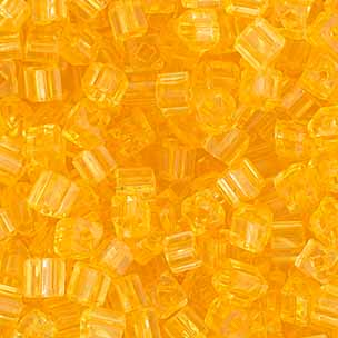 SQUARE BEADS 2.6x2.6mm YELLOW SHINY SOLGEL SQ.HOLE image