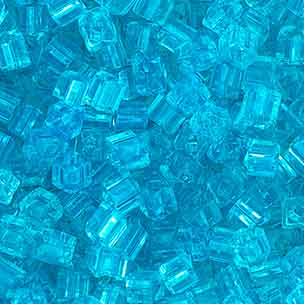SQUARE BEADS 2.6x2.6mm AQUA SHINY SOLGEL SQUARE HOLE image