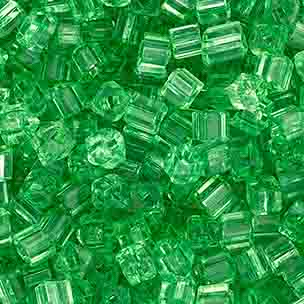 SQUARE BEADS 2.6x2.6mm GREEN SHINY SOLGEL SQUARE HOLE image
