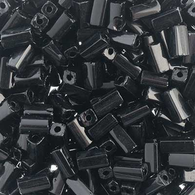 Czech Tubes Square Beads 7x3.4mm Opaque Black image