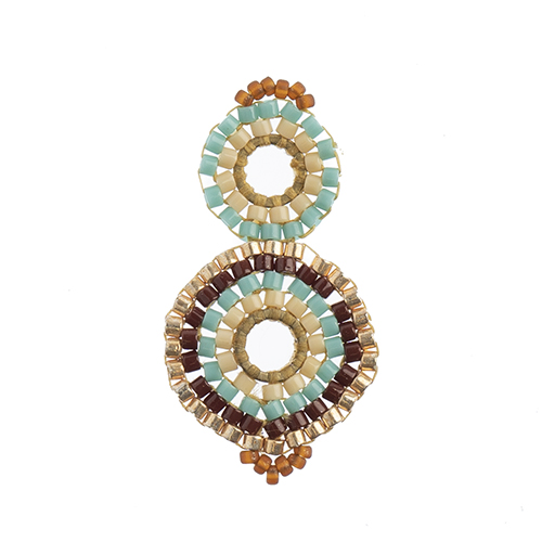 Beaded Focal Connectors - Circle Gold/Turquoise 3pcs image