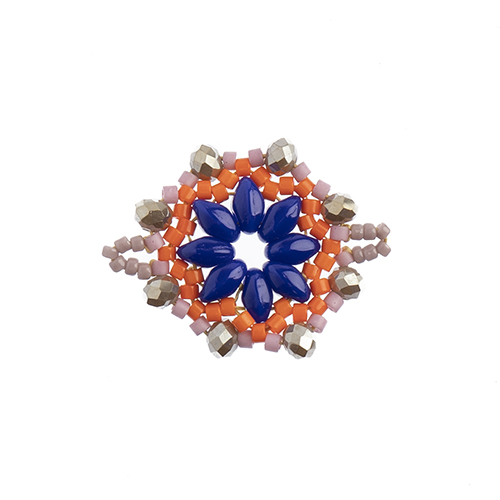 Beaded Focal Connectors - Circle Royal Blue/Coral 3pcs image