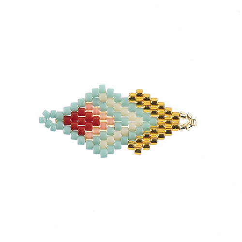 Beaded Focal Connectors - Diamond Turquoise/ Gold 3pcs image