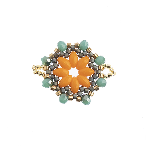 Beaded Focal Connectors - Circle Orange/Grey 3pcs image