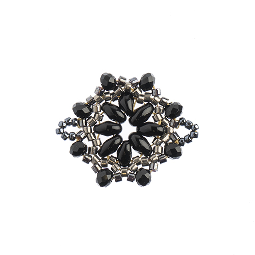 Beaded Focal Connectors - Circle Black 3pcs image