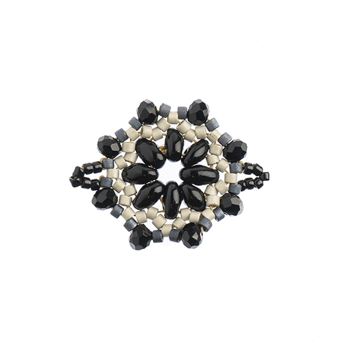 Beaded Focal Connectors - Circle Black/Grey 3pcs image