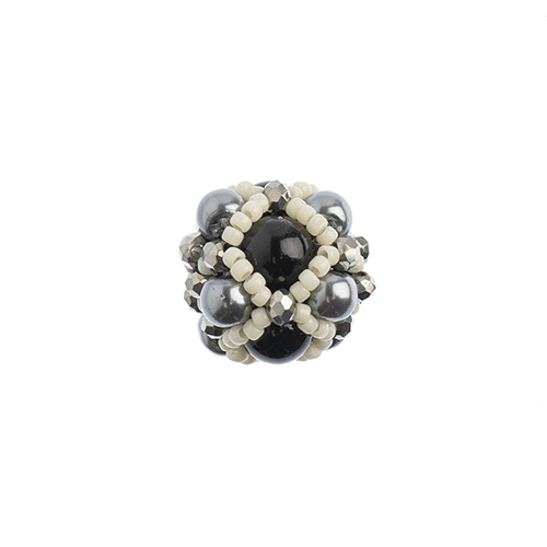 Beaded Focal Beads- Black/Ivory 3pcs image