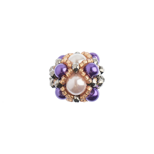 Beaded Focal Beads - Purple/Peach 3pcs image