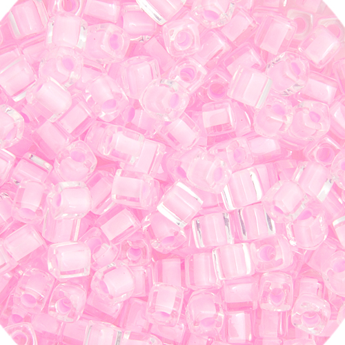 Miyuki Sq. (Cube) 4mm Lt. Pink Lined Luster image