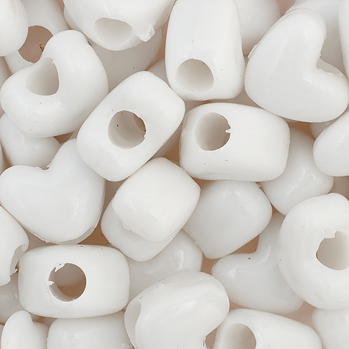 PONYBEAD HEART 10x12mm OPAQUE WHITE image